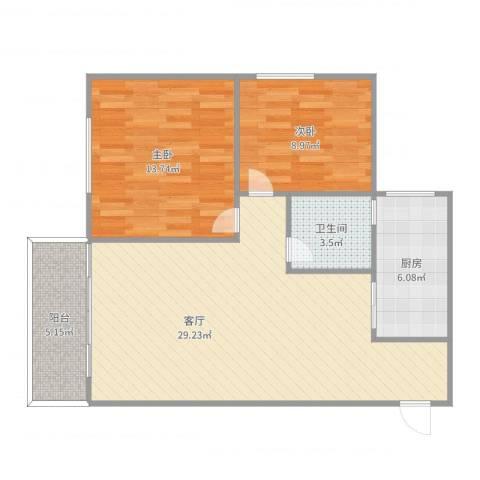 龙庭雅居2室1厅1卫1厨83.00㎡户型图