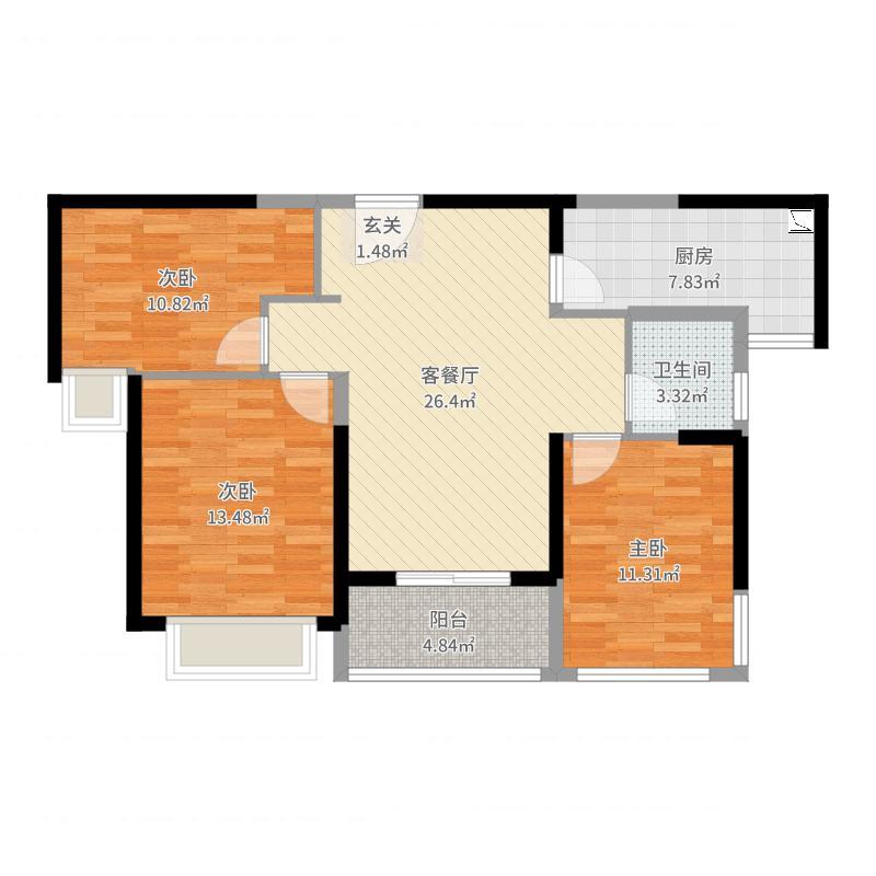 绿地玉晖项目98.00㎡一期1#标准层户型3室3厅1卫1厨-副本户型图