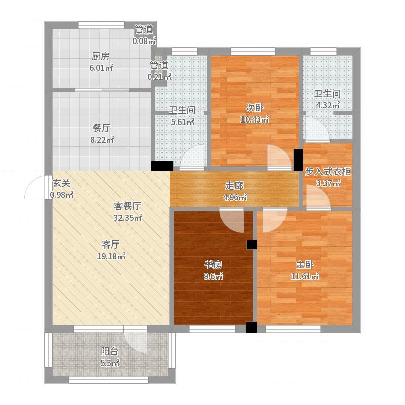 普罗旺斯3期115.00㎡普罗旺斯墅山6#C户型3室3厅2卫1厨户型图