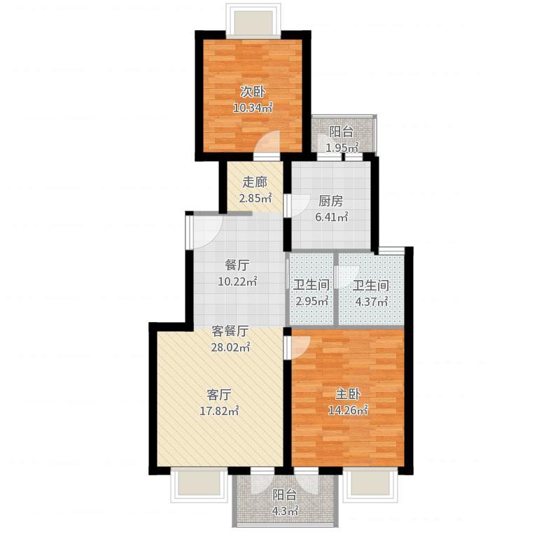 美林小城80.00㎡房型: 二房; 面积段: 80 -124 平方米; 户型户型图