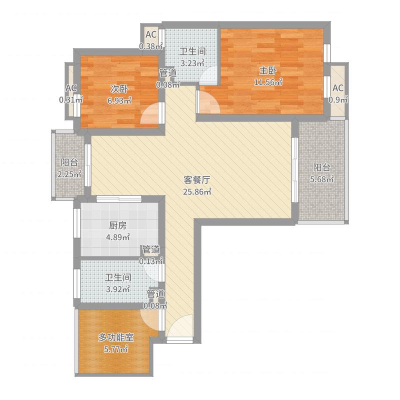 农房・英伦尊邸106.00㎡二期39#E1户型标准层户型2室2厅2卫1厨-副本户型图