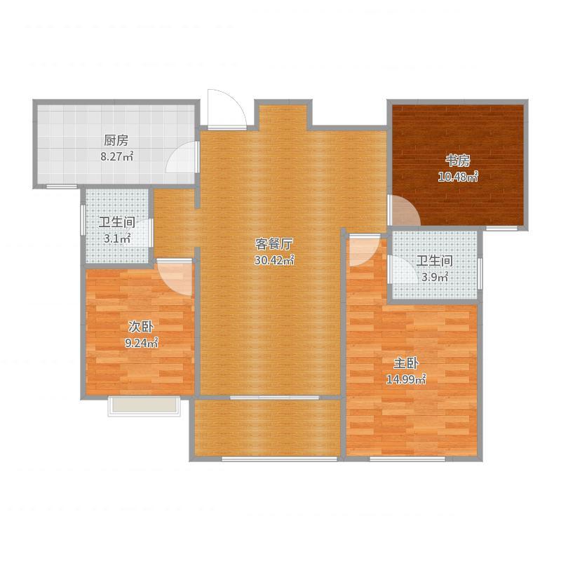 二期22号楼标准层B1户型 117平米户型图