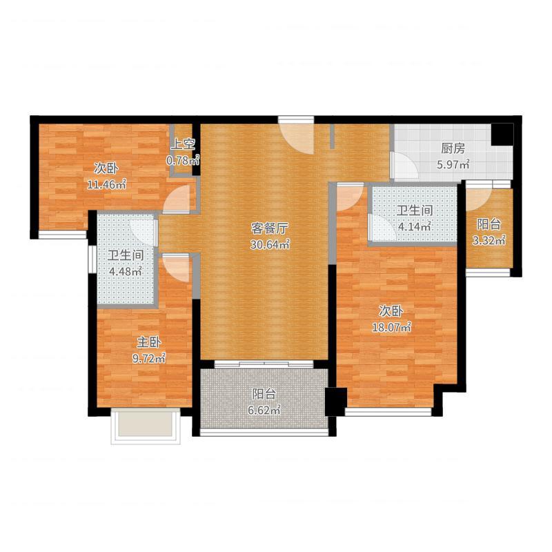 恒大御景半岛130.81㎡4/6/7号楼1单元户型3室2厅2卫-副本户型图