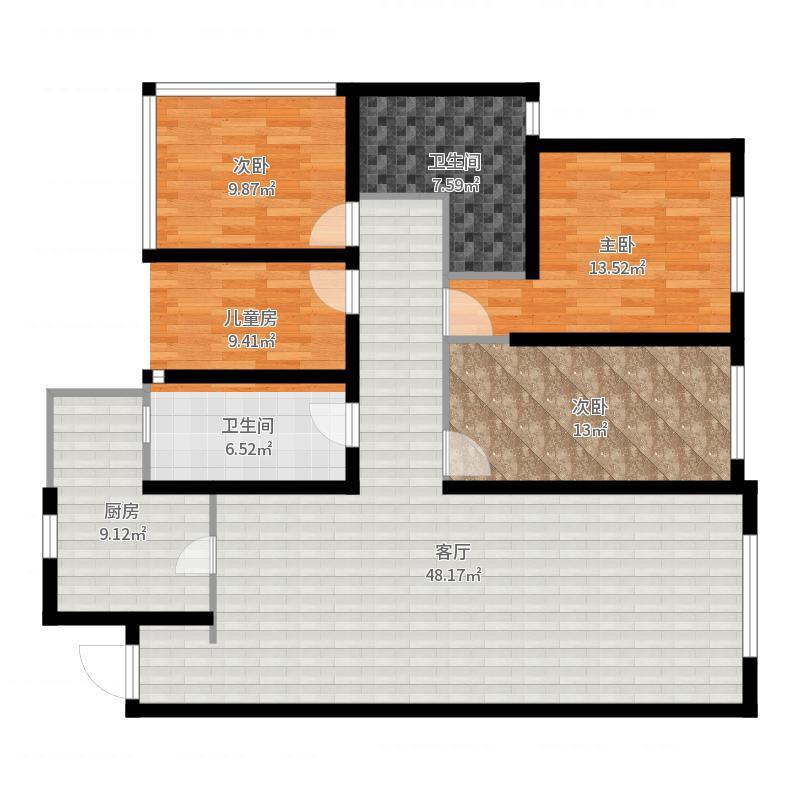 华润橡树湾140.00㎡D户型3室2厅2卫户型图