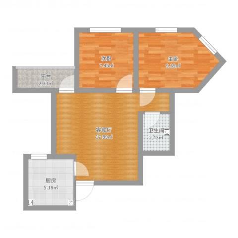 太平桥西里2室2厅1卫1厨56.00㎡户型图