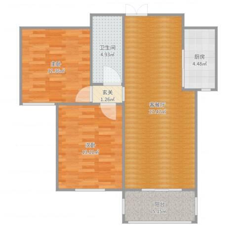 湖玺御墅2室2厅1卫1厨86.00㎡户型图