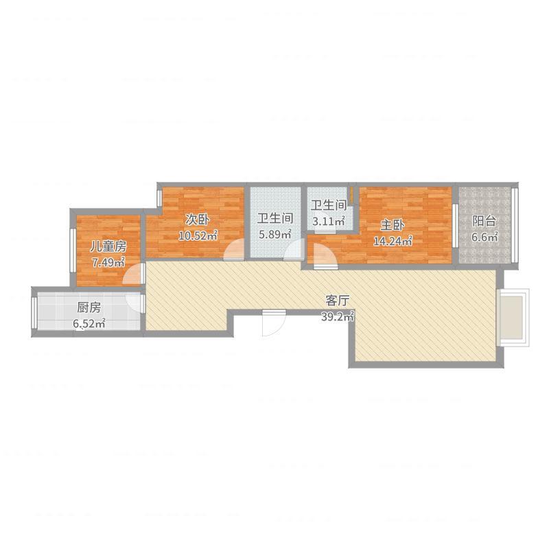 汇合苑3室2厅2卫户型图