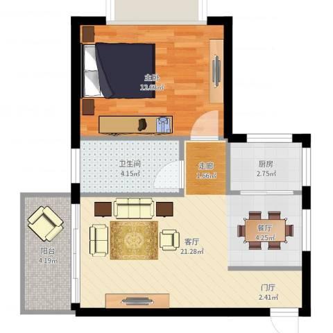 中天花园1室1厅1卫1厨56.00㎡户型图
