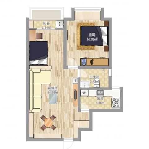中建文化城1室2厅1卫1厨70.00㎡户型图
