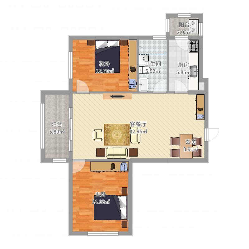 永安城99.71㎡二期户型2室2厅1卫1厨-副本户型图