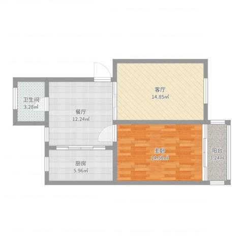 养蚕里1室2厅1卫1厨68.00㎡户型图