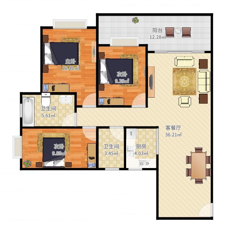 0921+姜茂禄+第2套+西城丰和家园+97平+S2930071户型图