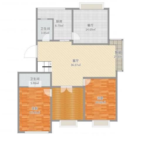 南洋花园2室2厅2卫1厨147.00㎡户型图