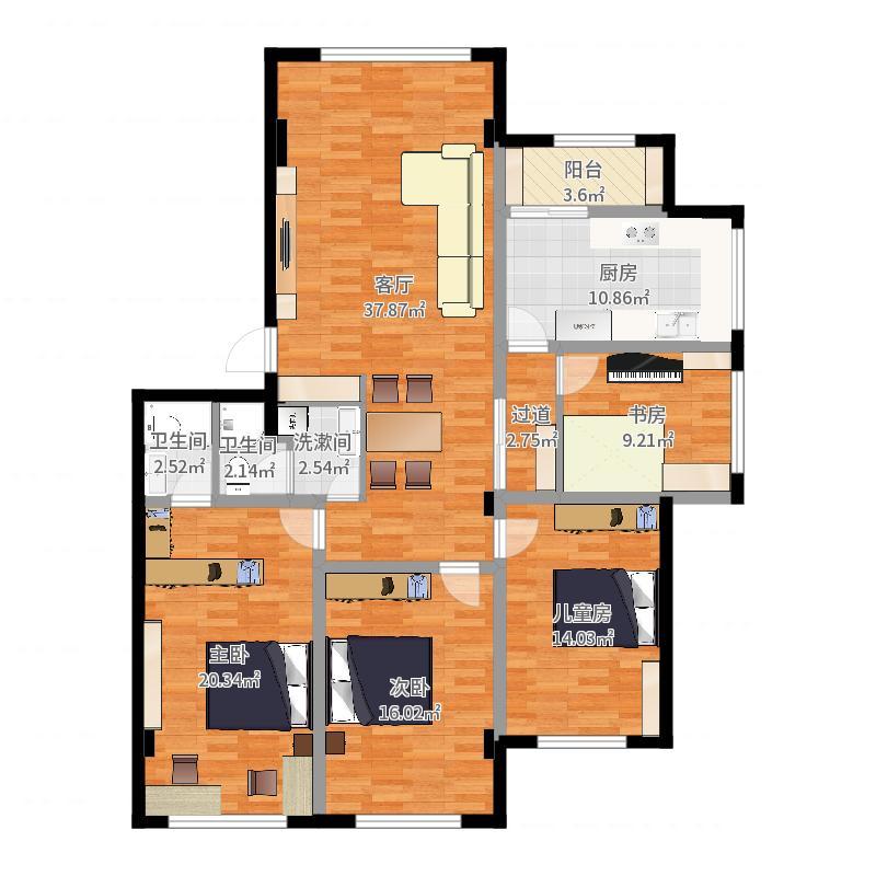 实际室内面积(详细)-实施方案20170922户型图