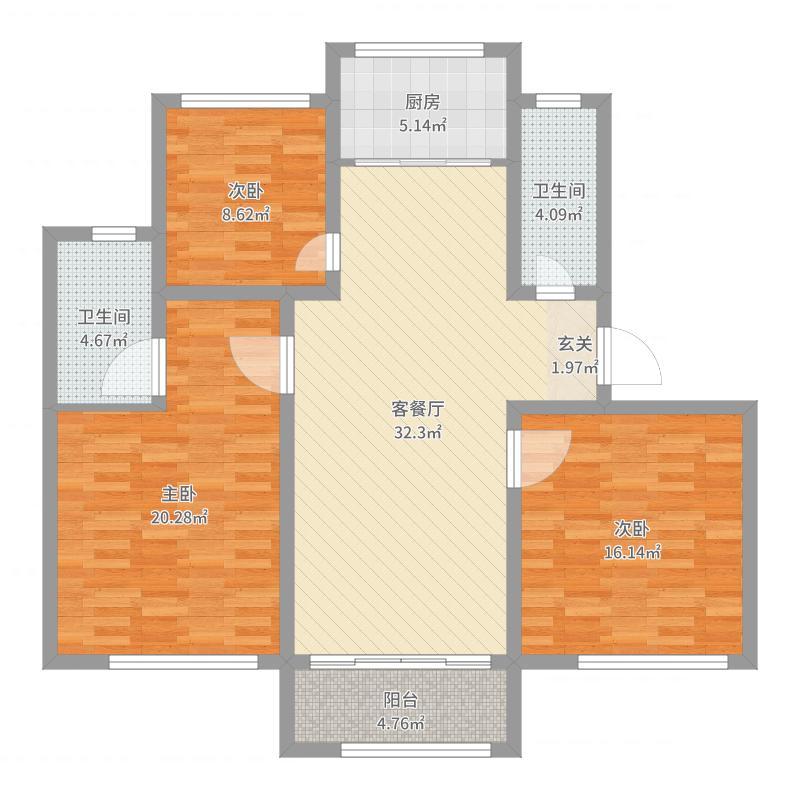 郡望府120.00㎡G户型3室3厅2卫1厨户型图
