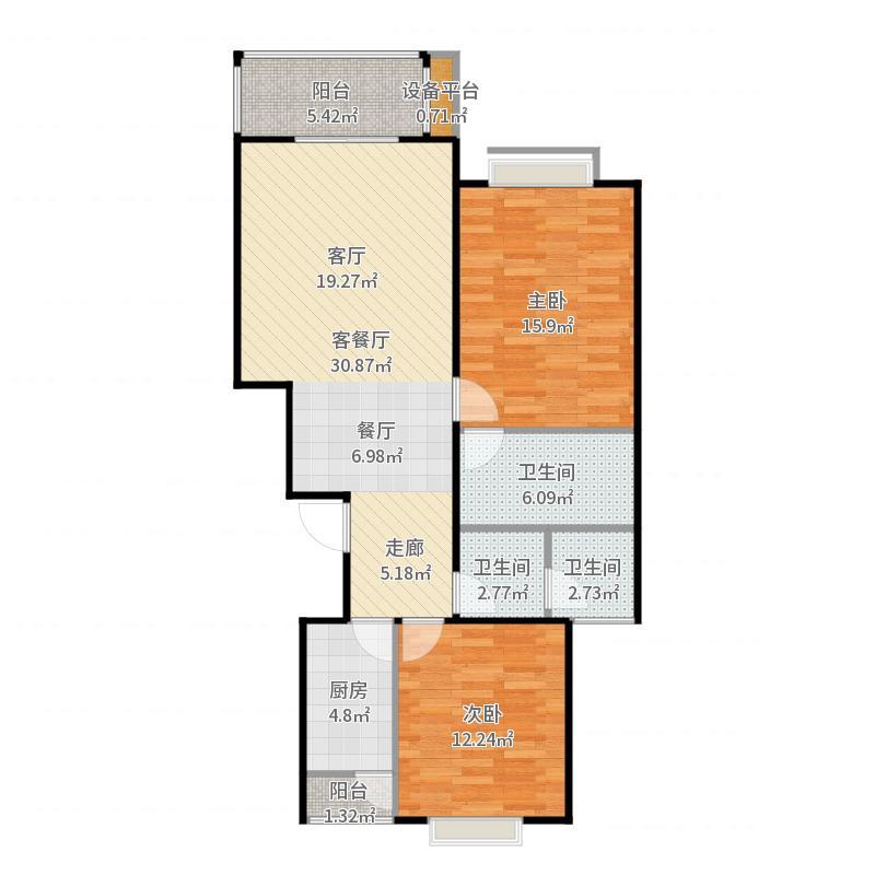 梧杖爱街区(碧桂园二期)104.00㎡3号楼2A户型2室2厅2卫户型户型图