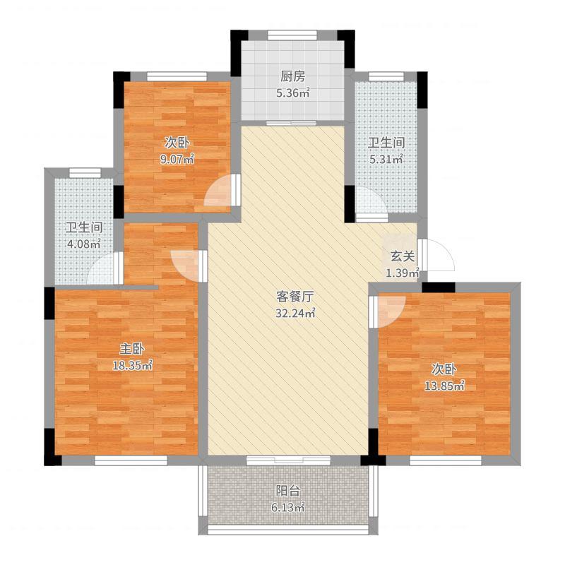郡望府118.00㎡G户型3室3厅2卫1厨户型图