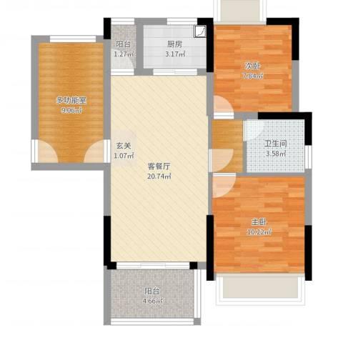 火炬开发区雅景花园2室2厅1卫1厨78.00㎡户型图