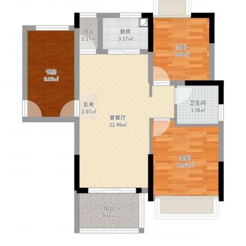 火炬开发区雅景花园3室2厅1卫1厨78.00㎡户型图