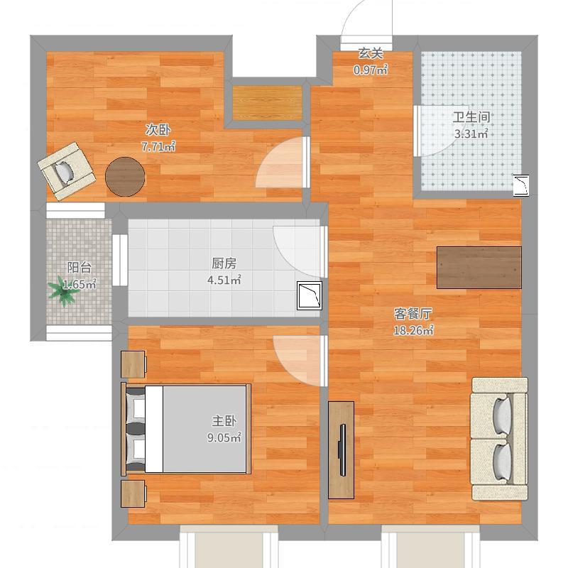 保利达大象公寓68.91㎡B户型2室2厅1卫1厨户型图