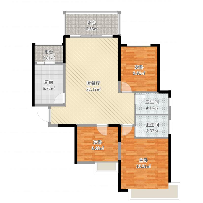 恒大御景半岛126.43㎡1号楼1单元三室户型3室2厅2卫-副本户型图