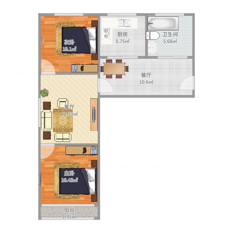 北关东路小区户型2室2厅1卫1厨-副本户型图
