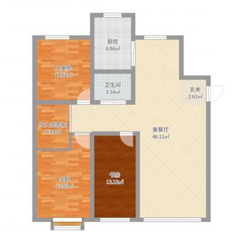 宏运・凤凰新城二期3室2厅1卫1厨125.00㎡户型图