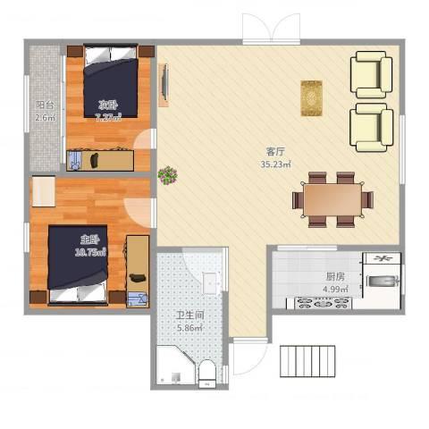 聚贤花苑2室1厅1卫1厨83.00㎡户型图