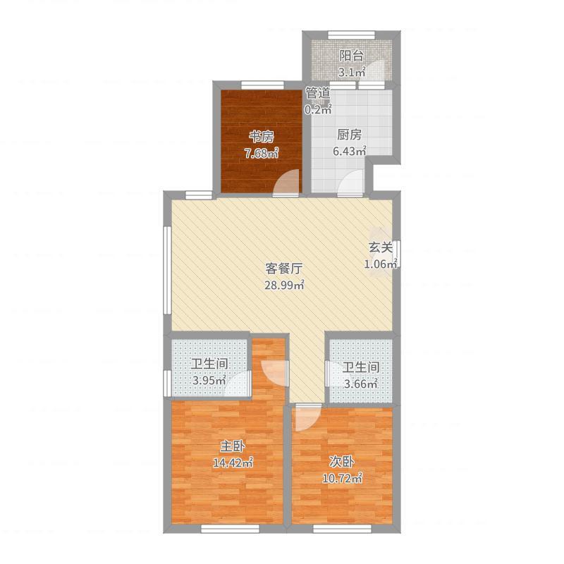 永泰城12-15号楼E户型户型图