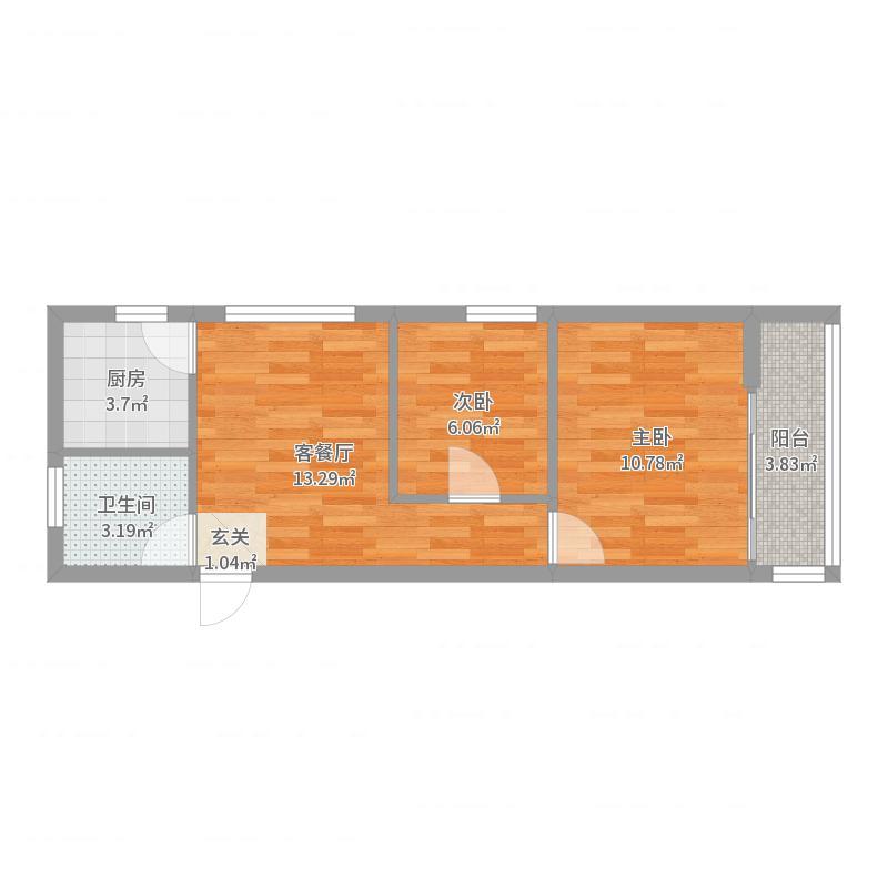 中央・名都63.00㎡M5户型2室2厅1卫1厨-副本户型图