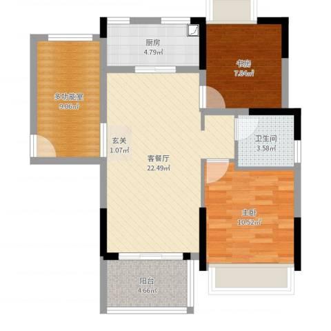 火炬开发区雅景花园2室2厅1卫1厨79.00㎡户型图