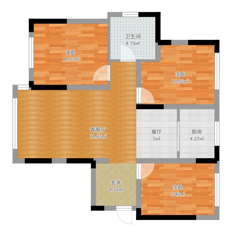 中海寰宇天下95.00㎡GD 小高层精致三房户型3室2厅1卫-副本户型图