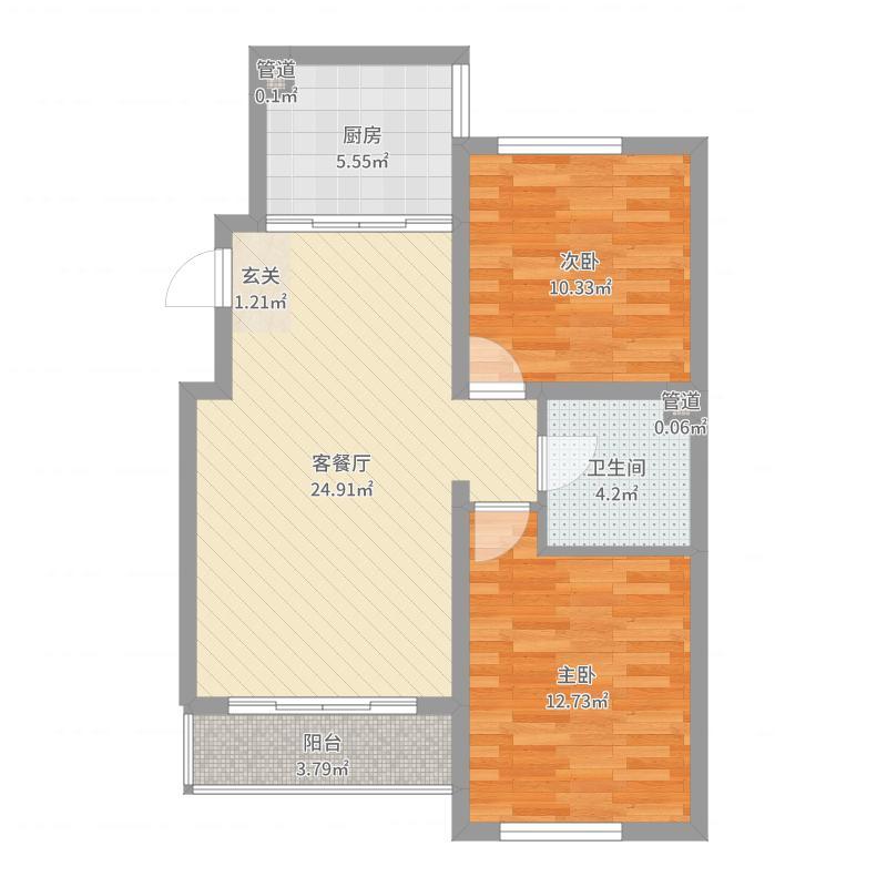 锦绣蓝湾87.70㎡B6号楼B户型2室2厅1卫-副本户型图