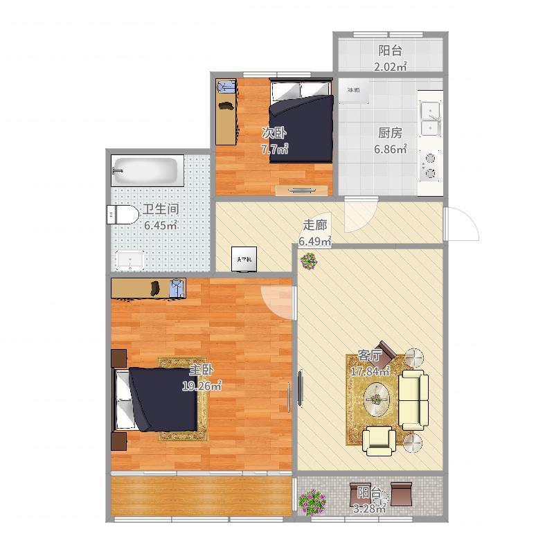 两室一厅-副本户型图
