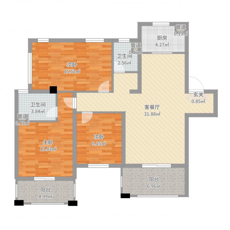 招商1872公园里117.00㎡1期1#标准层C户型3室3厅2卫1厨户型图