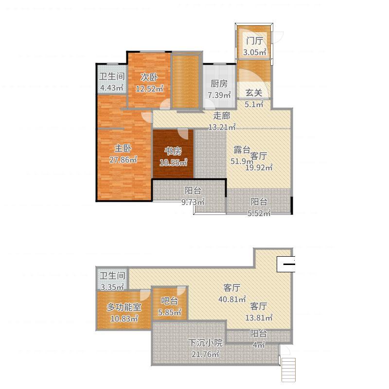 阳光诺卡19、20#楼二、三、四层户型F-2户型-副本-副本户型图