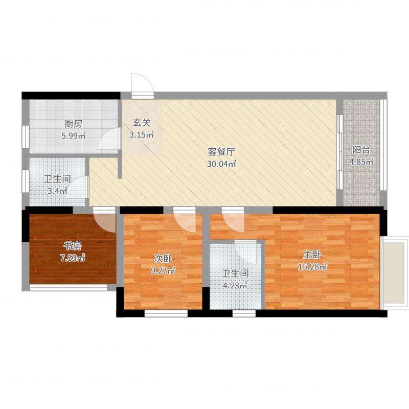 呼和浩特回民区万达广场120.00㎡A1户型3室3厅2卫1厨-副本户型图
