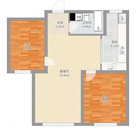碧水庄园三期2室2厅1卫1厨83.00㎡户型图