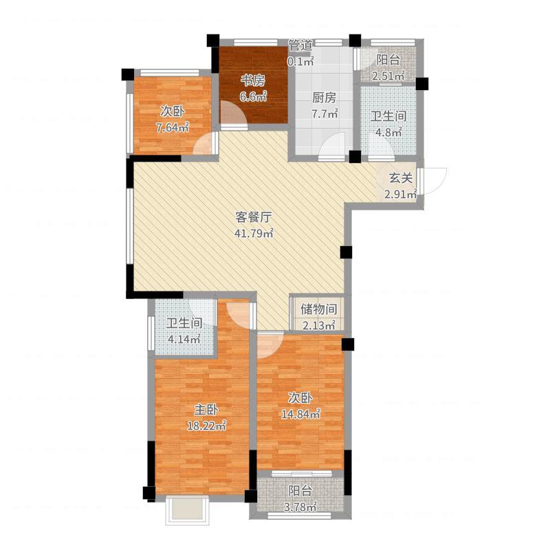 学苑尚街142.82㎡1#3-14层A户型4室4厅2卫1厨-副本-副本户型图