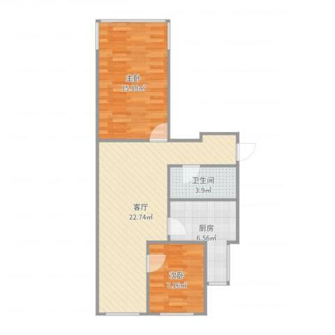 富丰路8号院2室1厅1卫1厨69.00㎡户型图