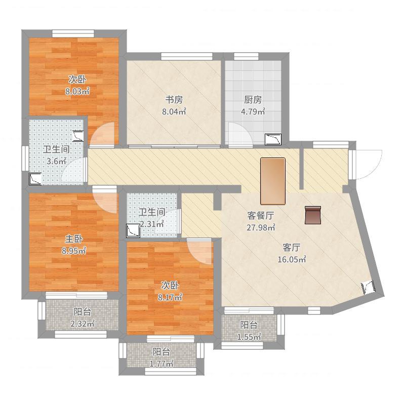 0923东亚风尚国际1+2带家具户型图