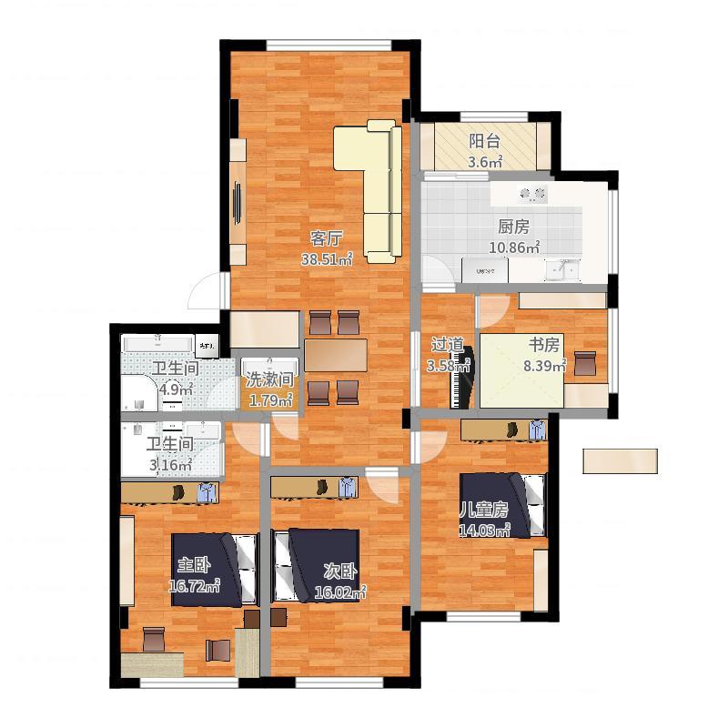 实际室内面积(详细)-实施方案20170918-副本户型图