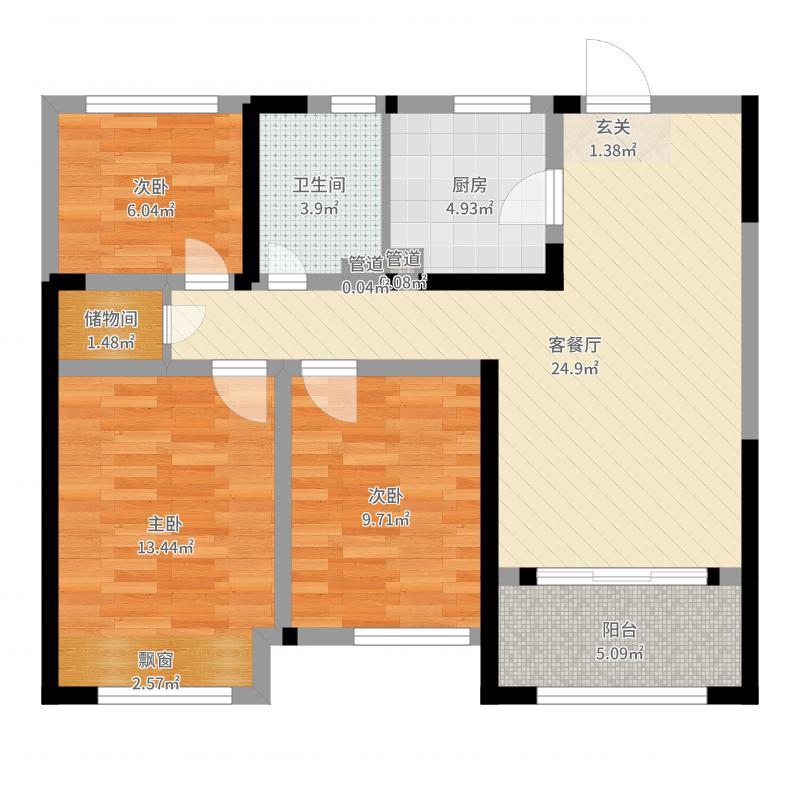 紫金城87.00㎡18#标准层户型3室3厅1卫1厨-副本户型图