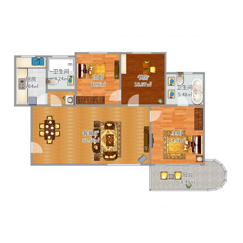 通汇公寓三房两厅户型图