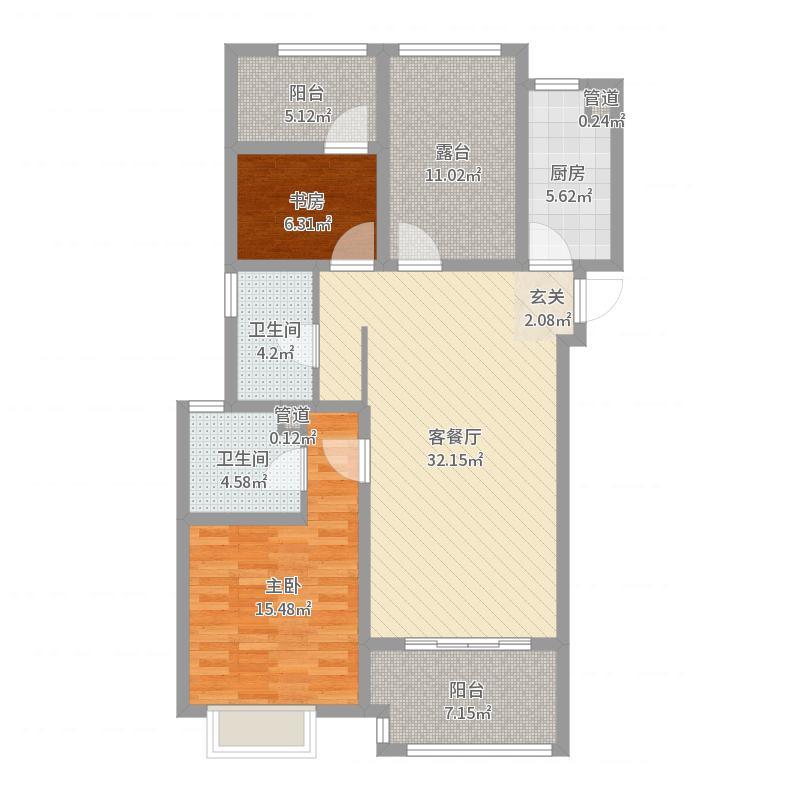 正荣华府115.00㎡二期高层5#15#18#17#中间户D3户型3室3厅2卫1厨户型图