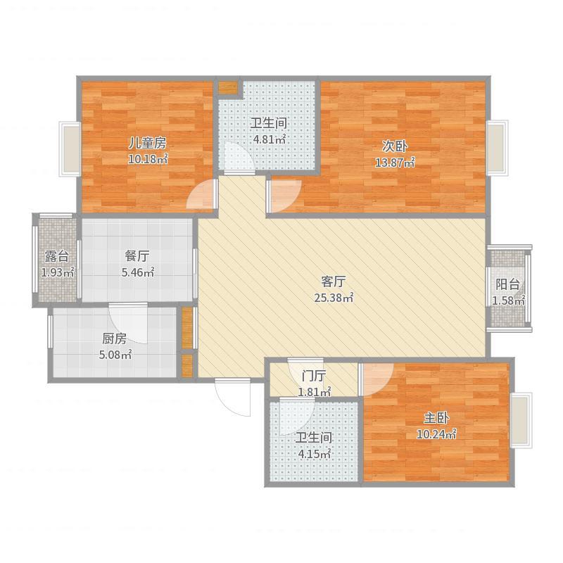 鸿顺园三居室-副本户型图