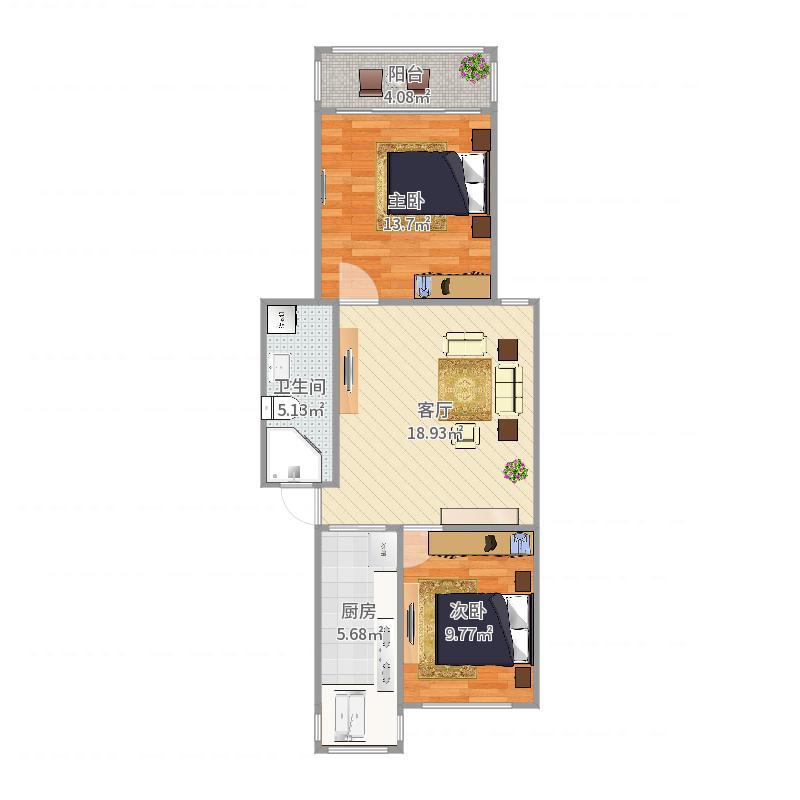70平两房右边户型户型图