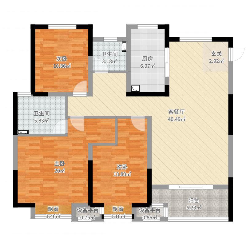金科中心136.17㎡11-1户型3室3厅2卫1厨户型图