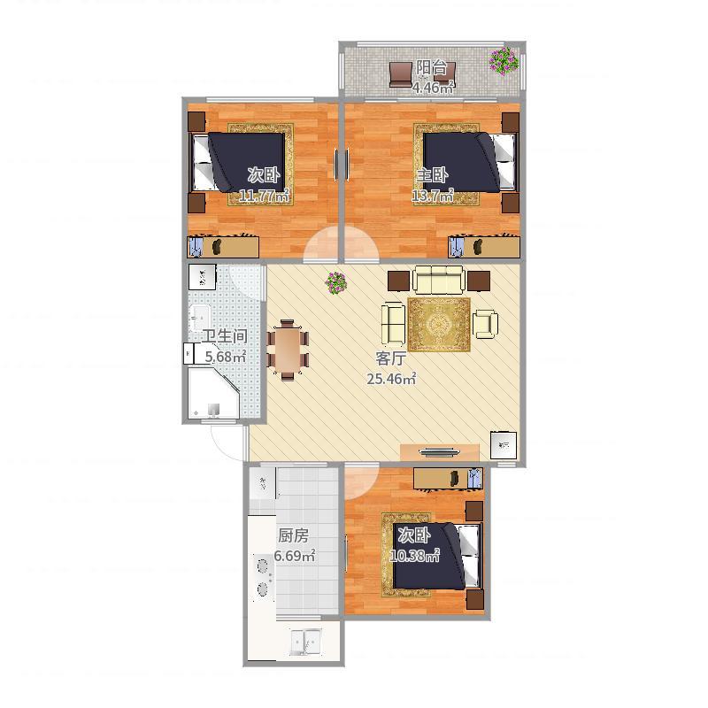 90平小三房右边户型户型图