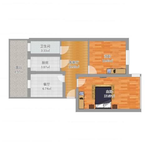 北西家大塘35号2室3厅1卫1厨77.00㎡户型图